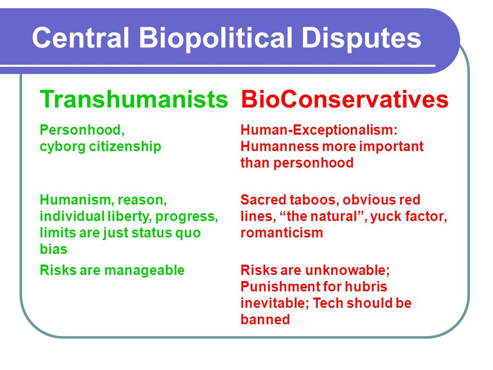 TranshumanistsBioConservatives Personhood, cyborg citizenship Human-Exceptionalism: Humanness more important than personhood Humanism, reason, individual liberty, progress, limits are just status quo bias Sacred taboos, obvious red lines, the natural , yuck factor, romanticism Risks are manageableRisks are unknowable; Punishment for hubris inevitable; Tech should be banned Central Biopolitical Disputes