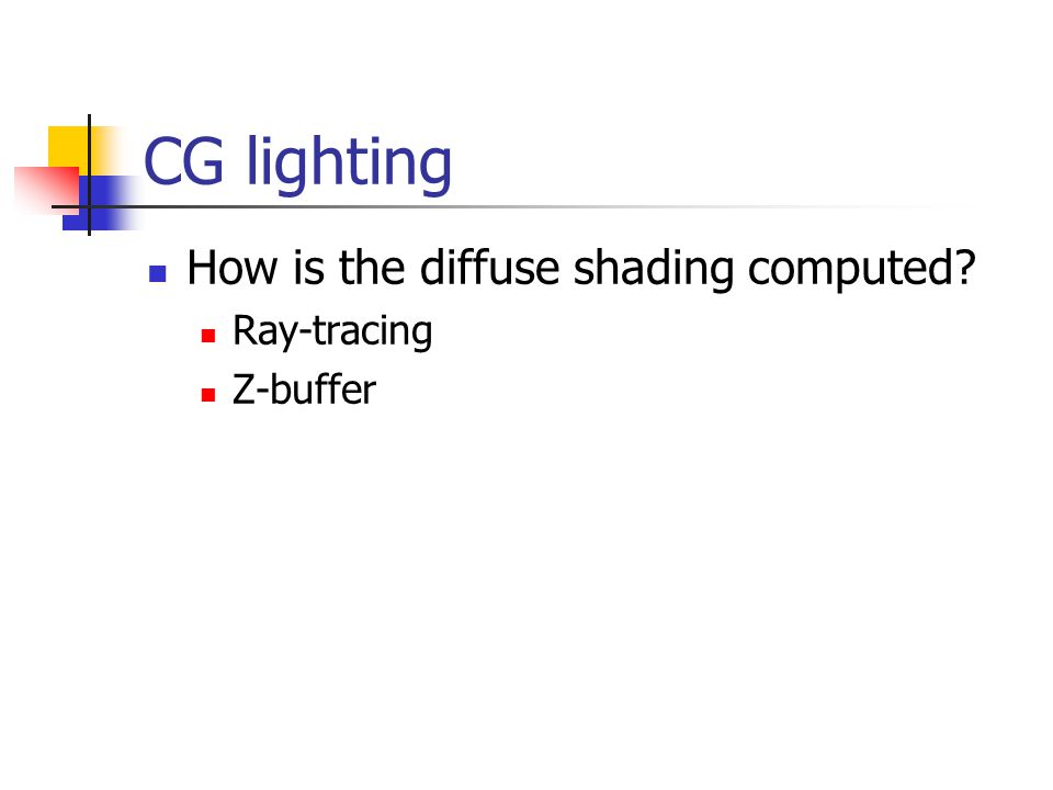 CG lighting How is the diffuse shading computed Ray-tracing Z-buffer