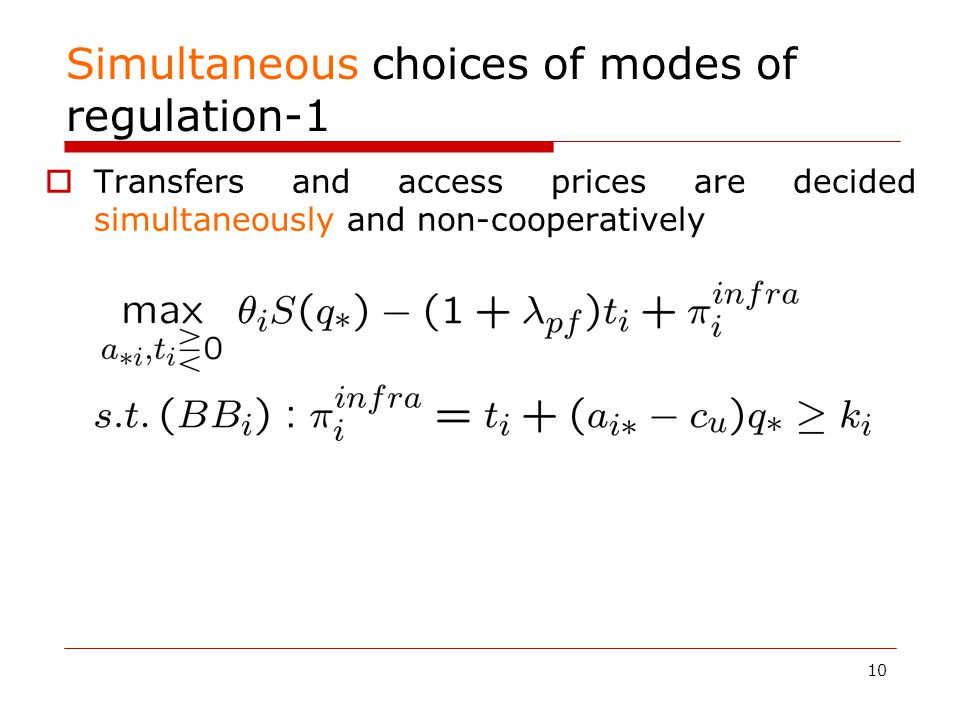 10 Simultaneous choices of modes of regulation-1  Transfers and access prices are decided simultaneously and non-cooperatively