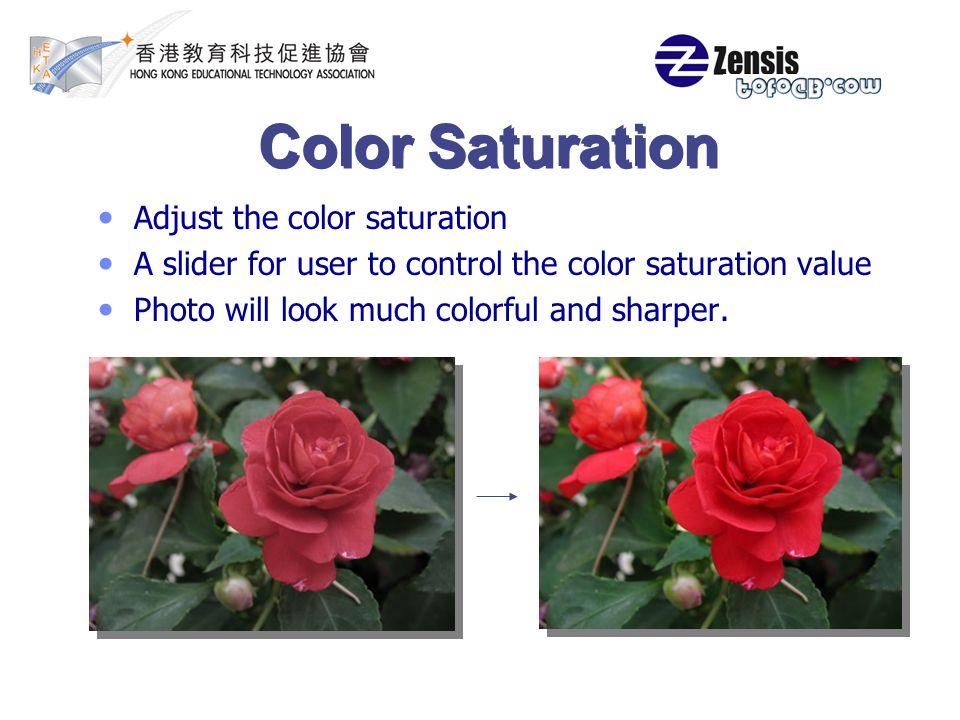 Color Saturation Adjust the color saturation A slider for user to control the color saturation value Photo will look much colorful and sharper.