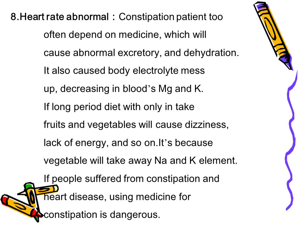 9.Diabetes : Pilot experiment, big portion of diabetes patients were related to constipation.