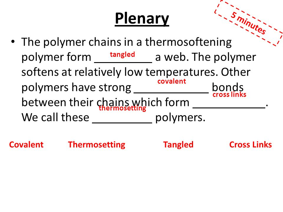 Plenary The polymer chains in a thermosoftening polymer form a web.
