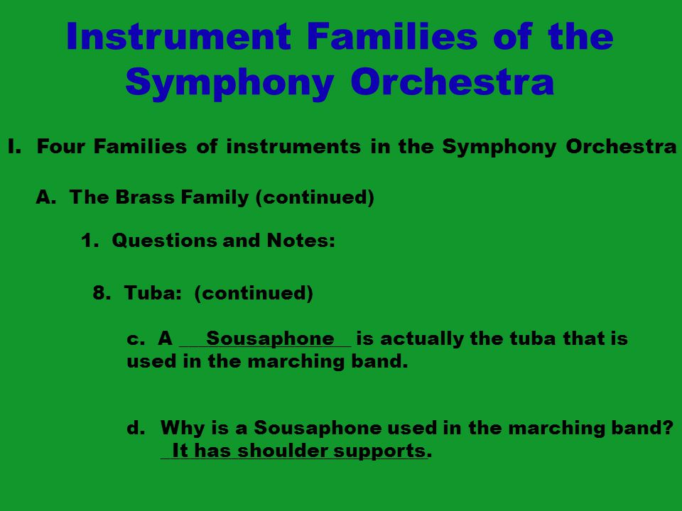 Instrument Families of the Symphony Orchestra I.