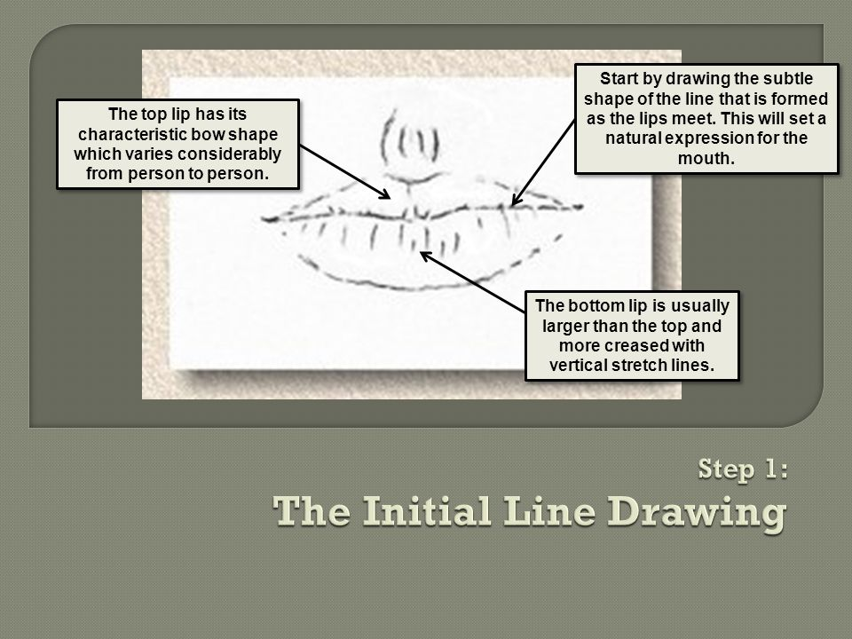 Start by drawing the subtle shape of the line that is formed as the lips meet.