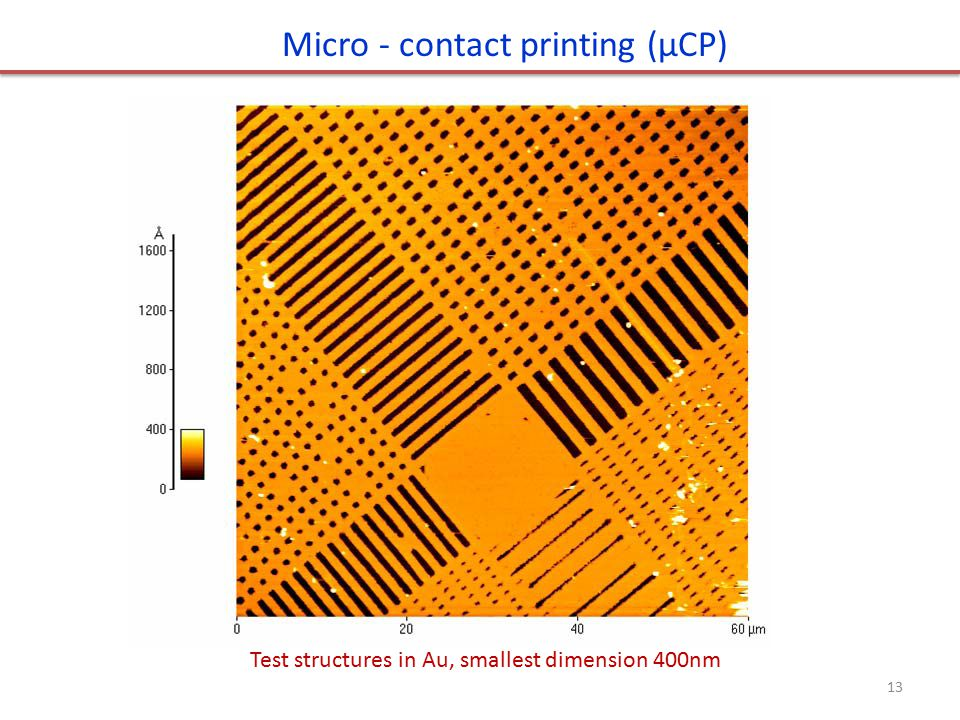 Test structures in Au, smallest dimension 400nm Micro - contact printing (μCP) 13