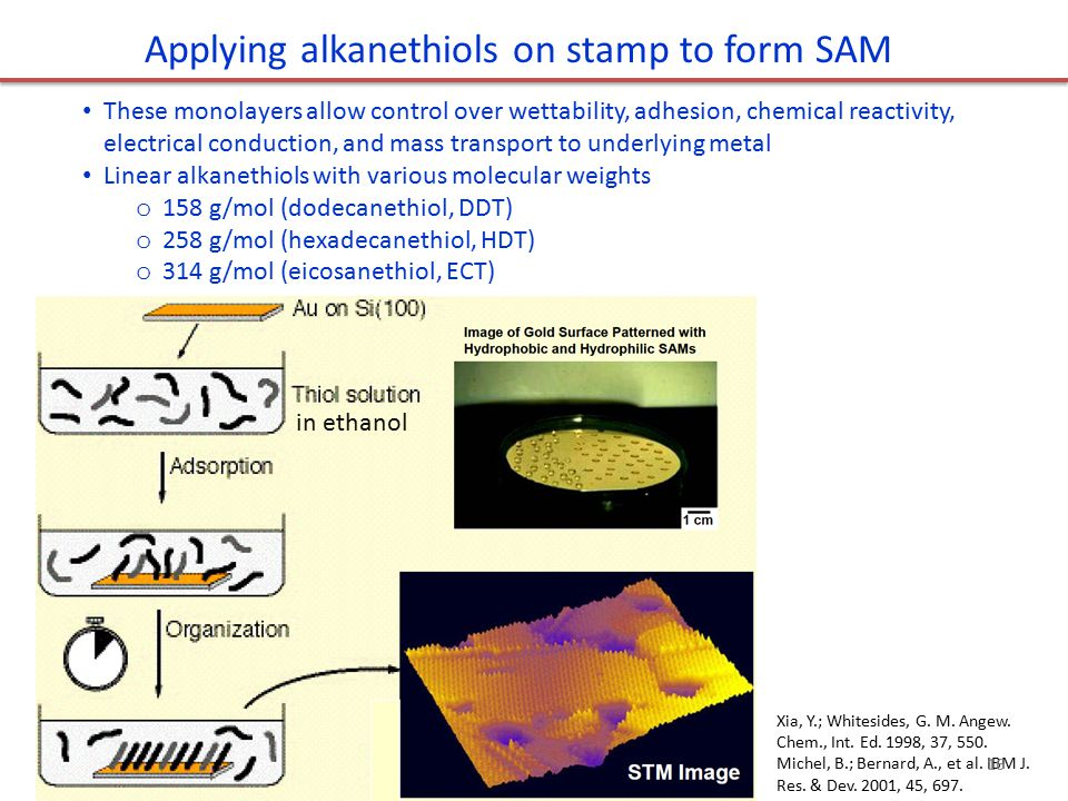 Applying alkanethiols on stamp to form SAM These monolayers allow control over wettability, adhesion, chemical reactivity, electrical conduction, and mass transport to underlying metal Linear alkanethiols with various molecular weights o 158 g/mol (dodecanethiol, DDT) o 258 g/mol (hexadecanethiol, HDT) o 314 g/mol (eicosanethiol, ECT) in ethanol Xia, Y.; Whitesides, G.