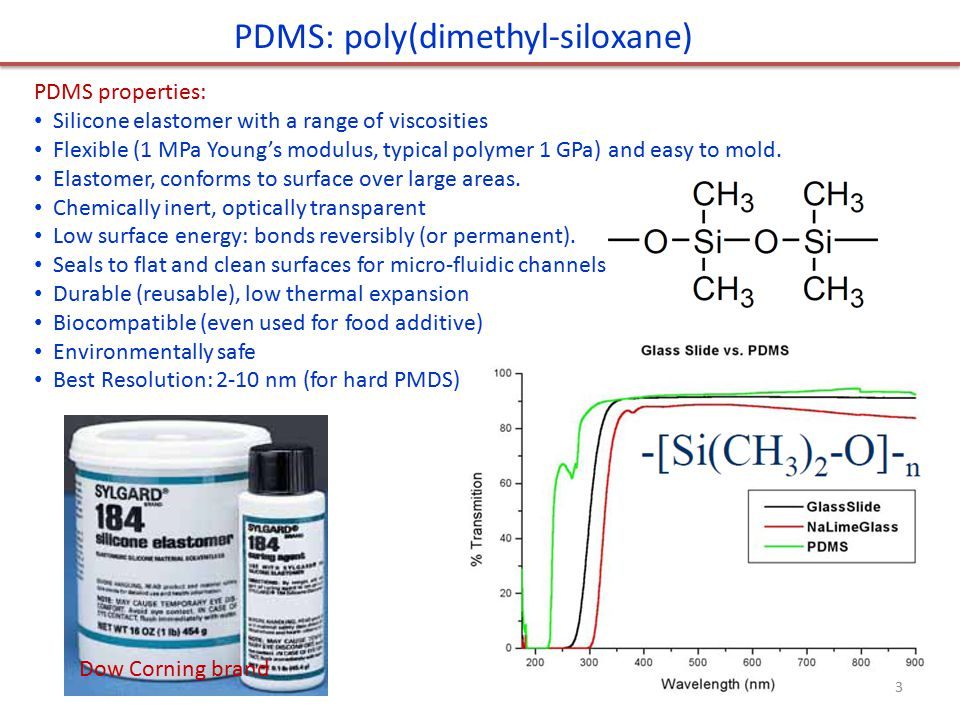 PDMS: poly(dimethyl-siloxane) PDMS properties: Silicone elastomer with a range of viscosities Flexible (1 MPa Young's modulus, typical polymer 1 GPa) and easy to mold.