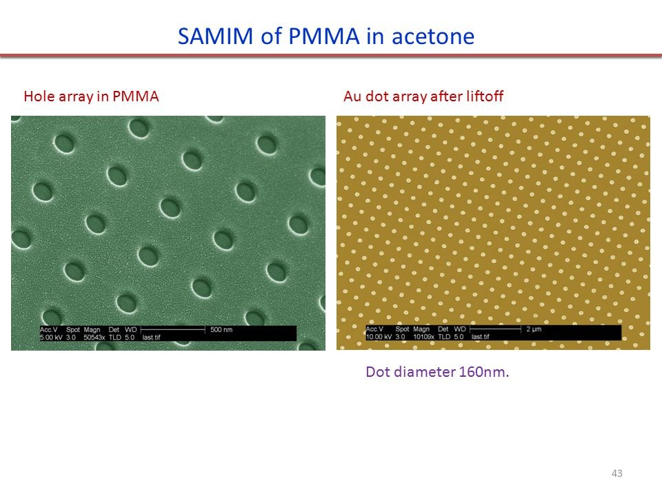 Hole array in PMMAAu dot array after liftoff SAMIM of PMMA in acetone Dot diameter 160nm. 43