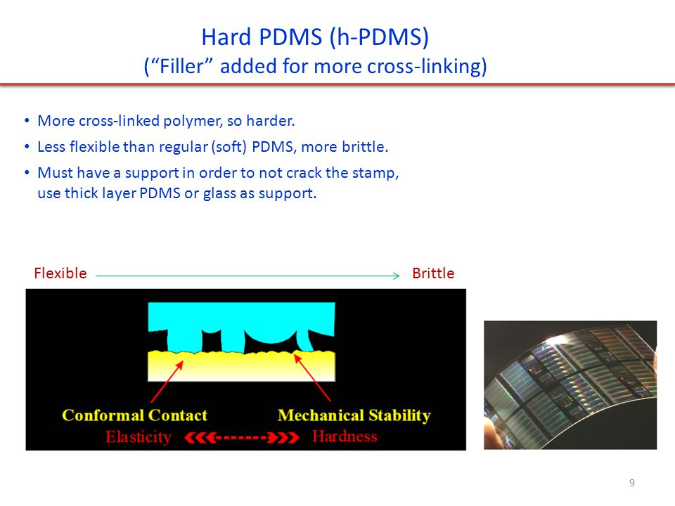 Hard PDMS (h-PDMS) ( Filler added for more cross-linking) More cross-linked polymer, so harder.