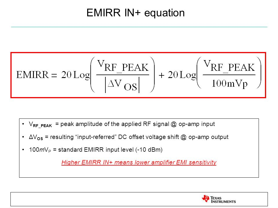 "EMIRR IN+ equation V RF_PEAK = peak amplitude of the applied RF signal @ op-amp input ΔV OS = resulting ""input-referred"" DC offset voltage shift @ op-"