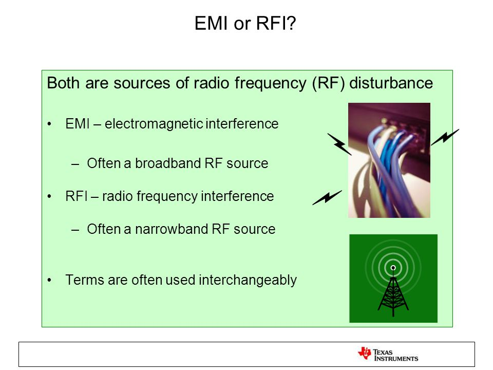 The necessary elements for EMI Coupling medium Source of electromagnetic energy 1010 +_+_ Receptor of Electromagnetic Energy