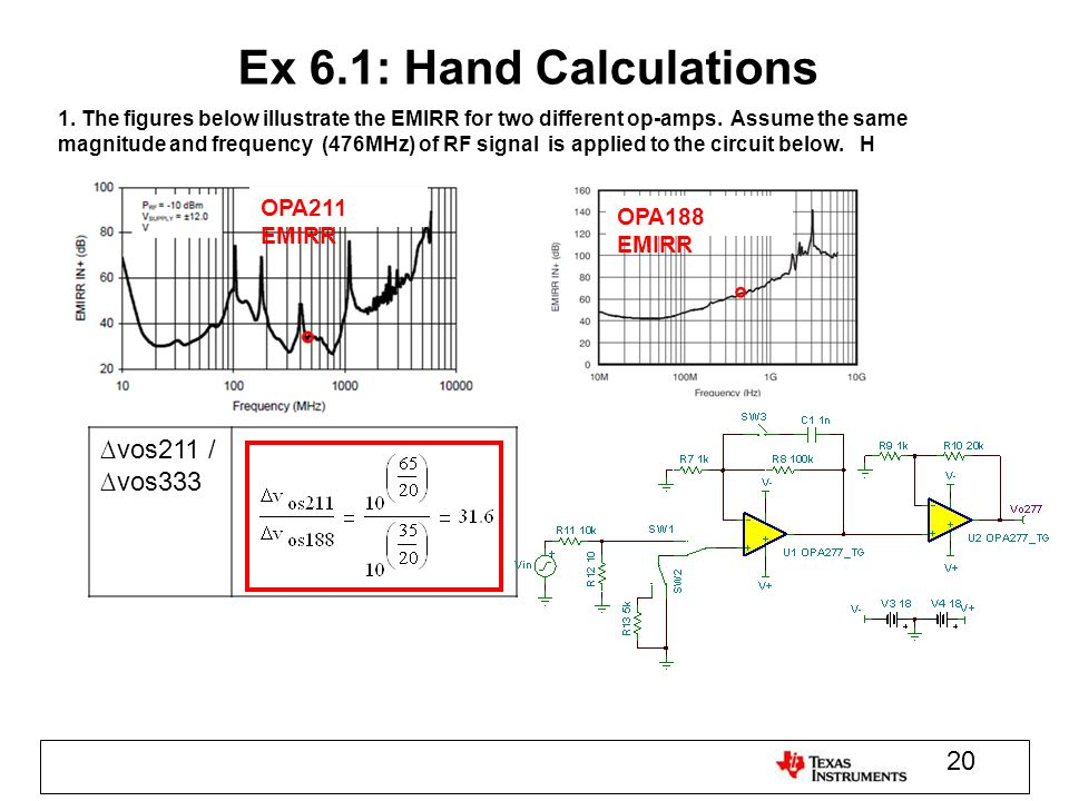 Ex 6.1: Hand Calculations 1. The figures below illustrate the EMIRR for two different op-amps. Assume the same magnitude and frequency (476MHz) of RF