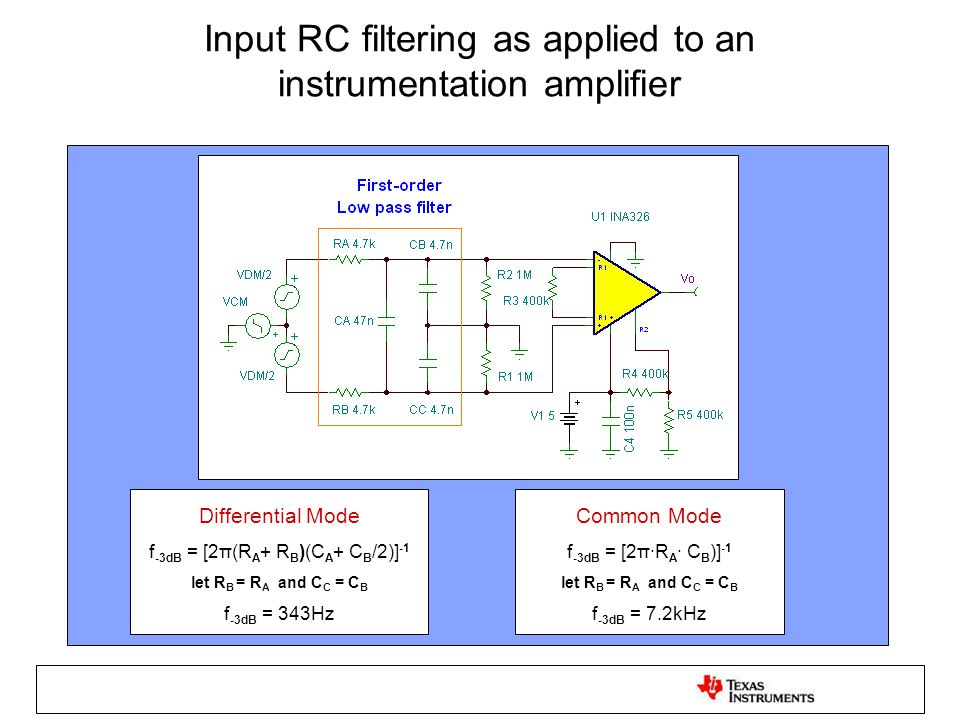 Input RC filtering as applied to an instrumentation amplifier Differential Mode f -3dB = [2π(R A + R B )(C A + C B /2)] -1 let R B = R A and C C = C B