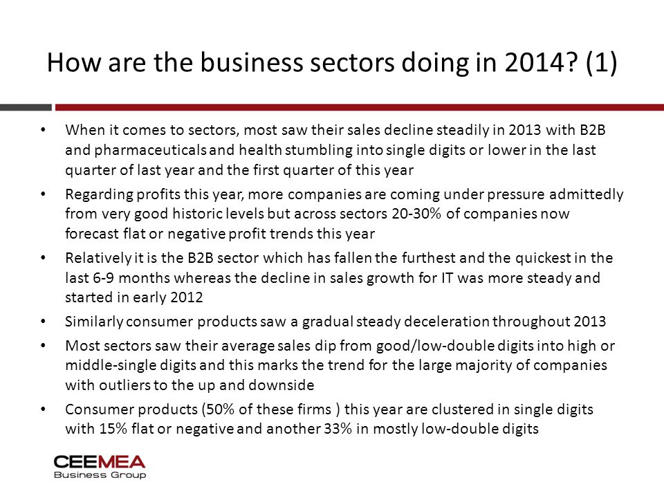 How are the business sectors doing in 2014.