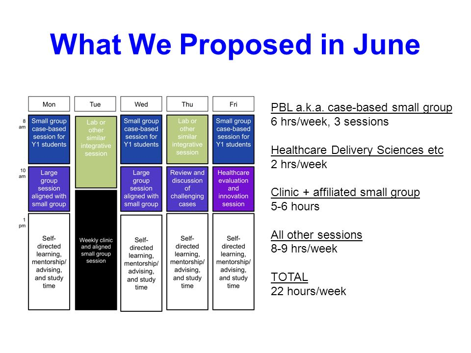 What We Proposed in June PBL a.k.a. case-based small group 6 hrs/week, 3 sessions Healthcare Delivery Sciences etc 2 hrs/week Clinic + affiliated smal
