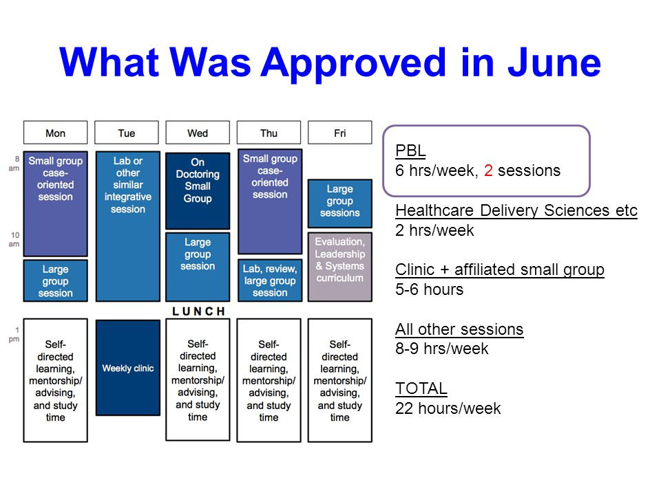 What Was Approved in June PBL 6 hrs/week, 2 sessions Healthcare Delivery Sciences etc 2 hrs/week Clinic + affiliated small group 5-6 hours All other sessions 8-9 hrs/week TOTAL 22 hours/week