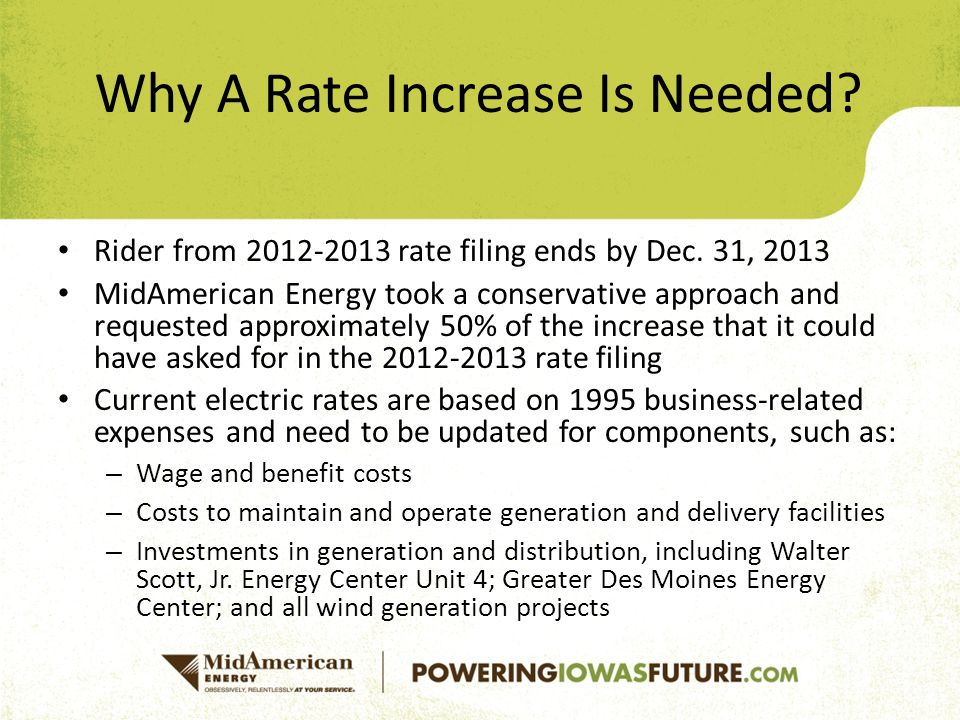 Rider from 2012-2013 rate filing ends by Dec.