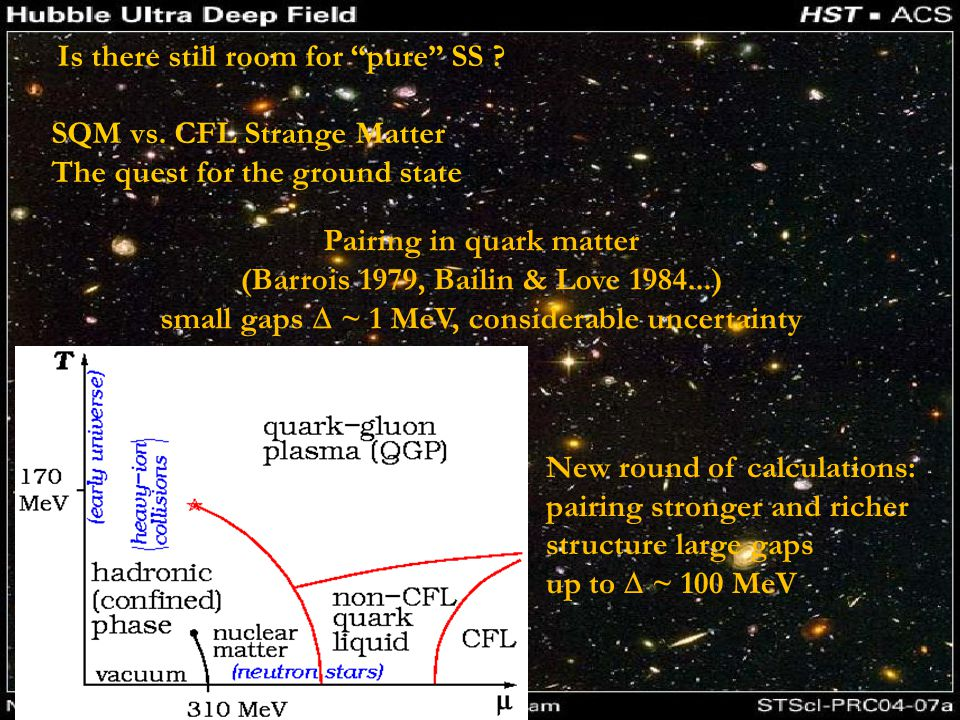 Pairing in quark matter (Barrois 1979, Bailin & Love 1984...) small gaps  ~ 1 MeV, considerable uncertainty New round of calculations: pairing stronger and richer structure large gaps up to  ~ 100 MeV Is there still room for pure SS .