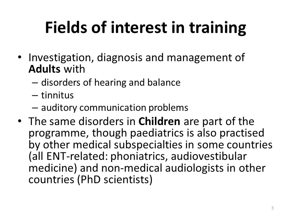 Overlap with other professions as major issue in audiology Training programmes involving different professions, especially at European level, can soften antagonisms or rivalries Proposals: (1) to include EFAS PhD scientists in this European training programme; (2) to integrate more EFAS PhD scientists in PhD thesis for ORL-HNS trainees (or post-graduates) Such interactions already exist in some countries, but their influence appears rather limited 4