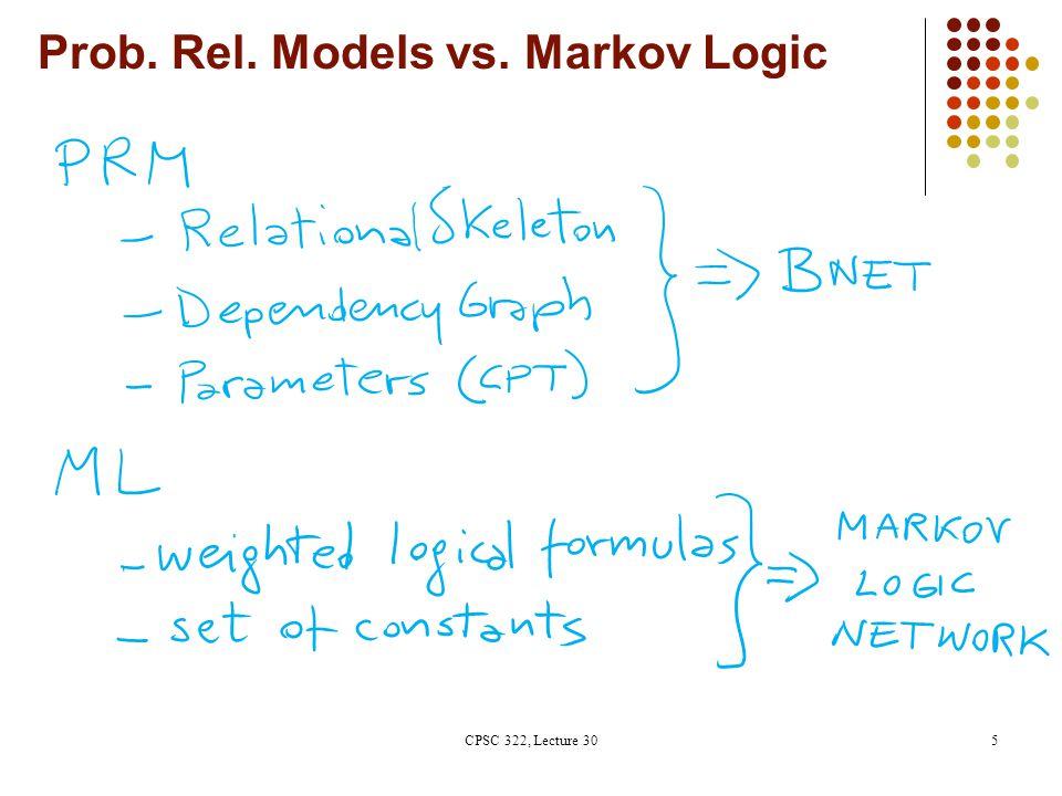 Prob. Rel. Models vs. Markov Logic CPSC 322, Lecture 305