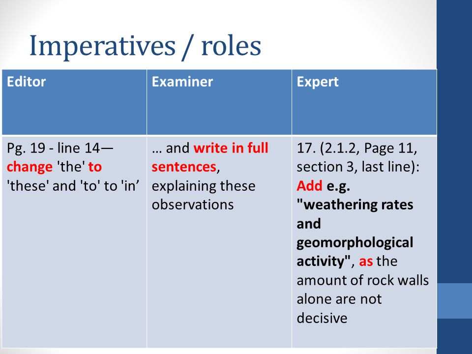 Imperatives / roles EditorExaminerExpert Pg. 19 - line 14— change 'the' to 'these' and 'to' to 'in' … and write in full sentences, explaining these ob