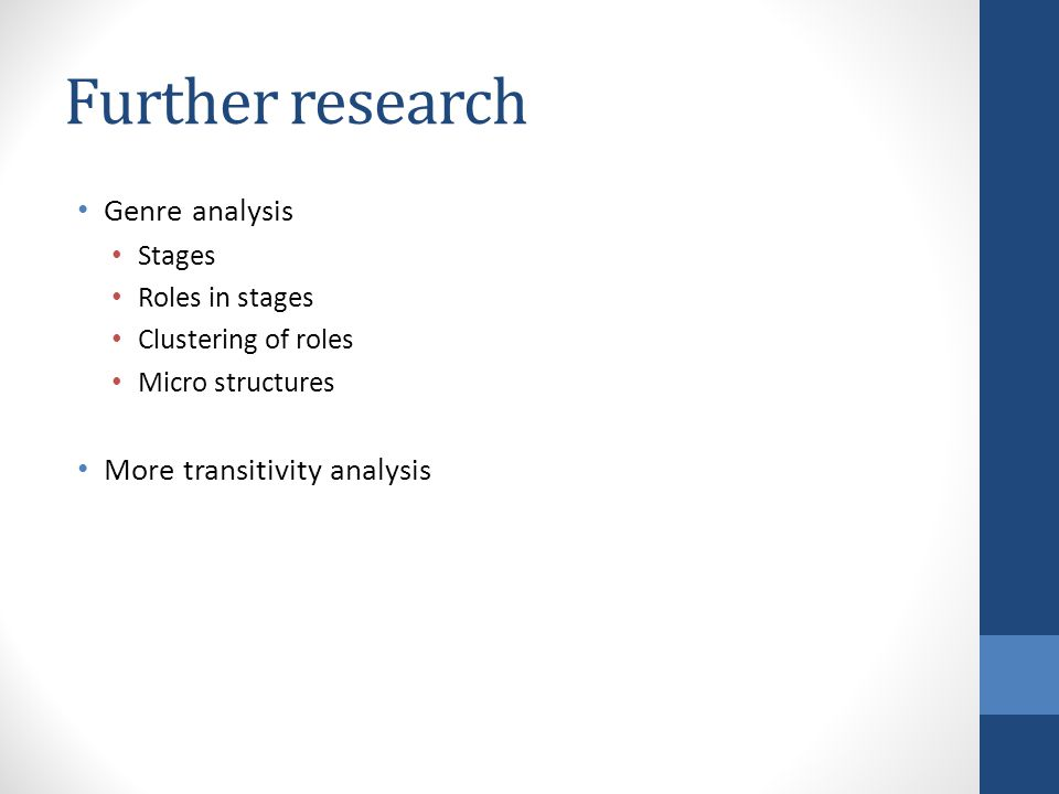 Further research Genre analysis Stages Roles in stages Clustering of roles Micro structures More transitivity analysis