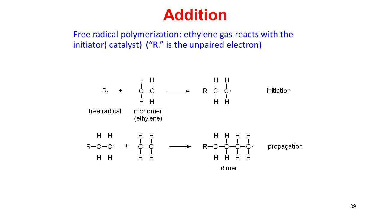 """39 Addition Free radical polymerization: ethylene gas reacts with the initiator( catalyst) (""""R."""" is the unpaired electron)"""
