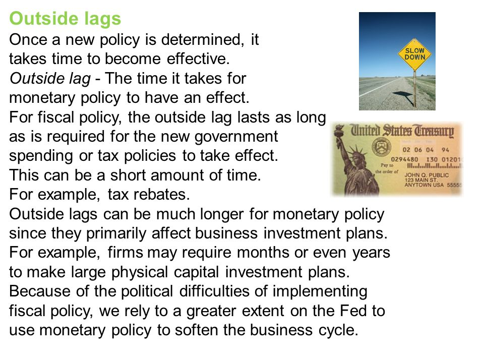 Outside lags Once a new policy is determined, it takes time to become effective. Outside lag - The time it takes for monetary policy to have an effect