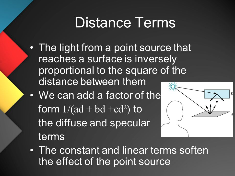 Distance Terms The light from a point source that reaches a surface is inversely proportional to the square of the distance between them We can add a factor of the form 1/(ad + bd +cd 2 ) to the diffuse and specular terms The constant and linear terms soften the effect of the point source