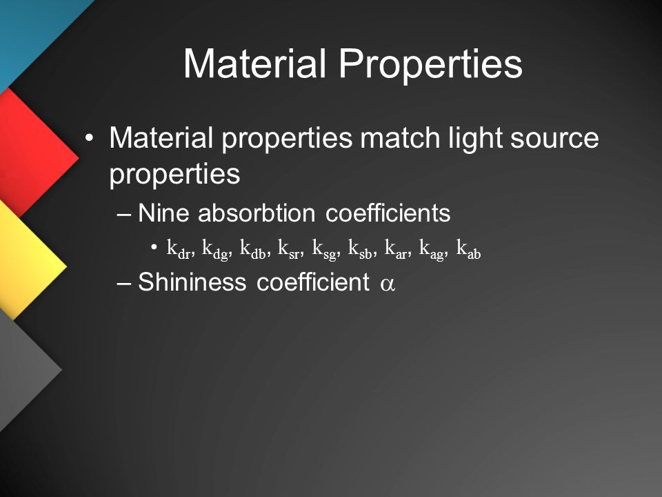 Material Properties Material properties match light source properties –Nine absorbtion coefficients k dr, k dg, k db, k sr, k sg, k sb, k ar, k ag, k ab –Shininess coefficient 