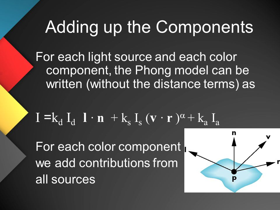 Adding up the Components For each light source and each color component, the Phong model can be written (without the distance terms) as I = k d I d l · n + k s I s ( v · r )  + k a I a For each color component we add contributions from all sources