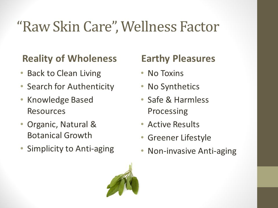 Raw Skin Care , Wellness Factor Reality of Wholeness Back to Clean Living Search for Authenticity Knowledge Based Resources Organic, Natural & Botanical Growth Simplicity to Anti-aging Earthy Pleasures No Toxins No Synthetics Safe & Harmless Processing Active Results Greener Lifestyle Non-invasive Anti-aging