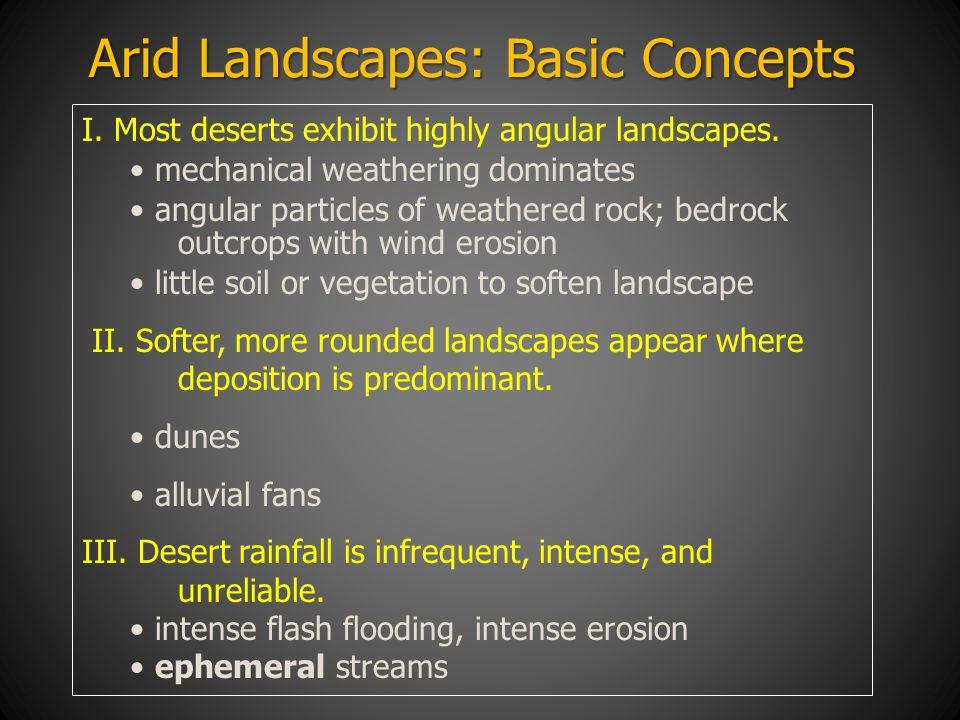 Arid Landscapes: Basic Concepts I. Most deserts exhibit highly angular landscapes. mechanical weathering dominates angular particles of weathered rock