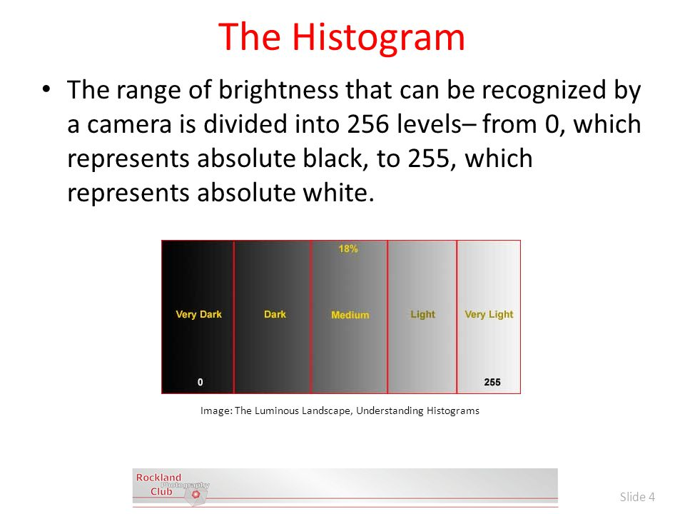 The Histogram The range of brightness that can be recognized by a camera is divided into 256 levels– from 0, which represents absolute black, to 255, which represents absolute white.