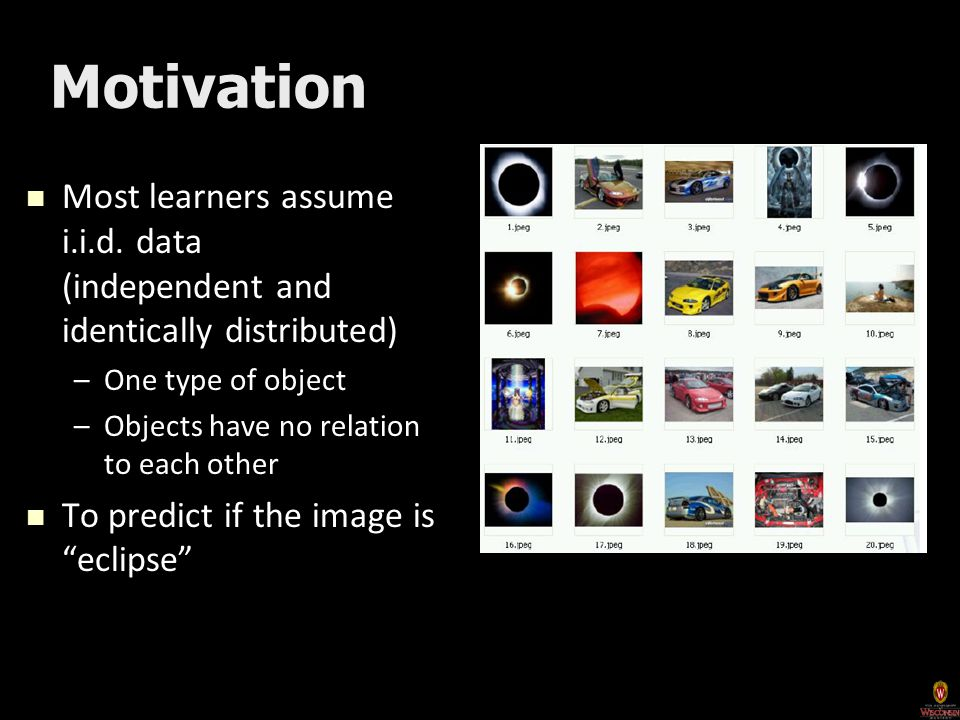 Motivation Most learners assume i.i.d. data (independent and identically distributed) Most learners assume i.i.d. data (independent and identically di