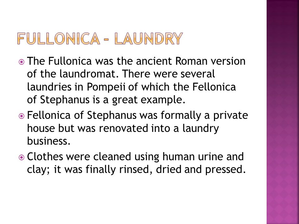  The Fullonica was the ancient Roman version of the laundromat. There were several laundries in Pompeii of which the Fellonica of Stephanus is a grea