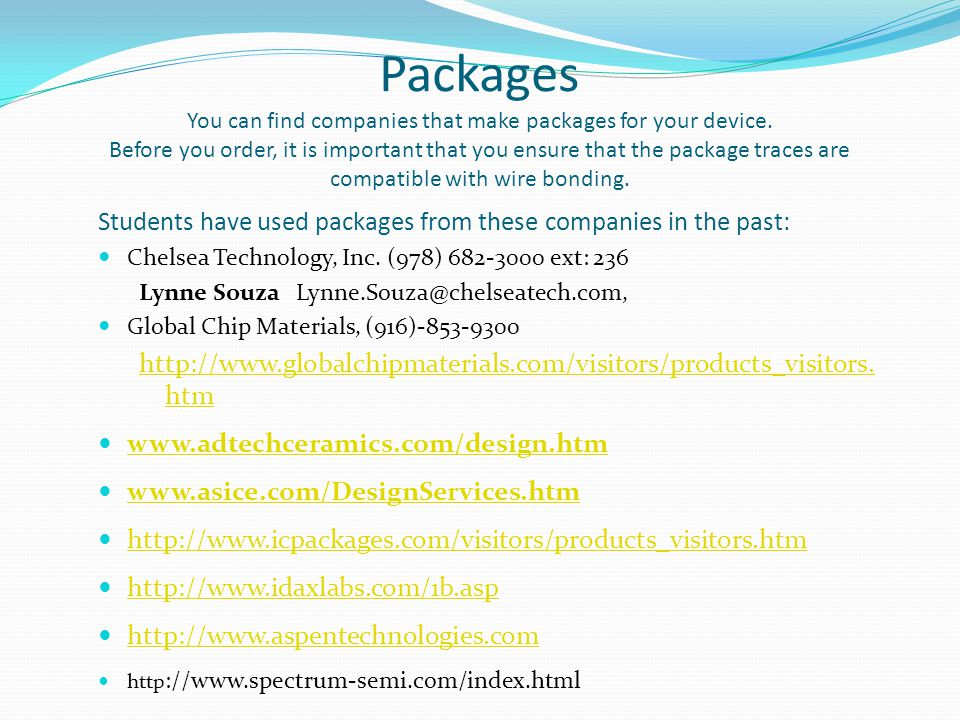Packages You can find companies that make packages for your device.