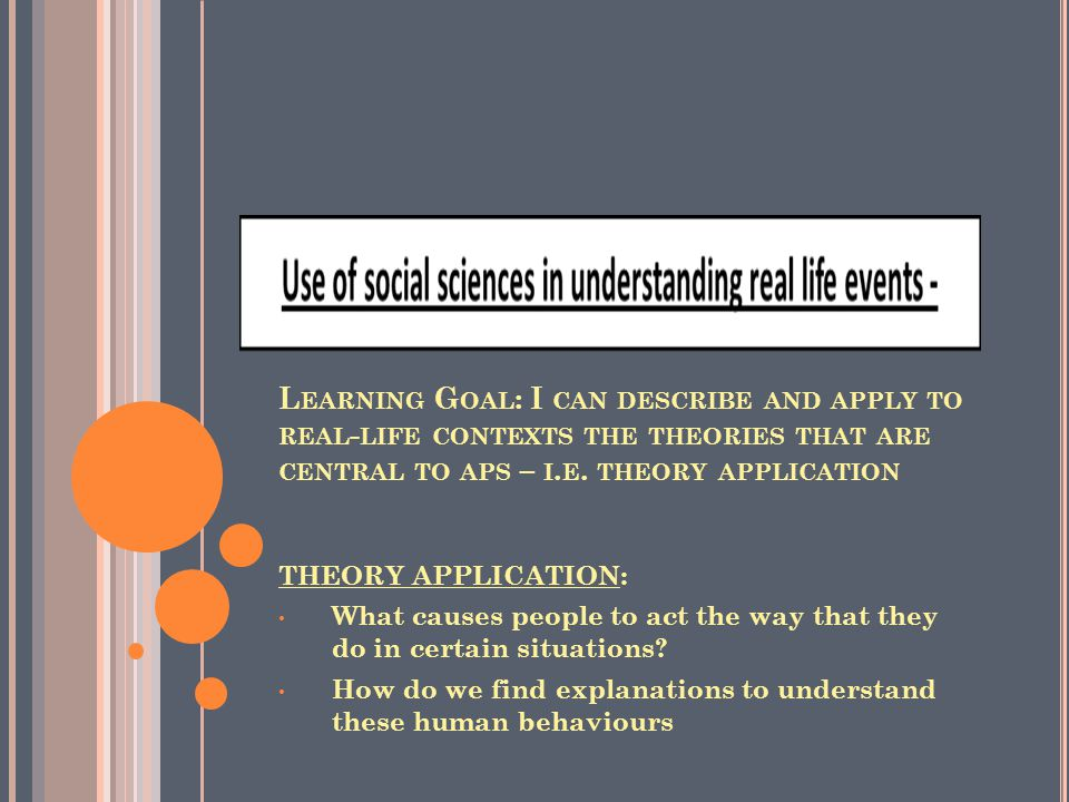 L EARNING G OAL : I CAN DESCRIBE AND APPLY TO REAL - LIFE CONTEXTS THE THEORIES THAT ARE CENTRAL TO APS – I.