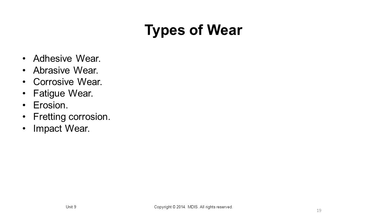 19 Types of Wear Unit 9Copyright © 2014. MDIS. All rights reserved.
