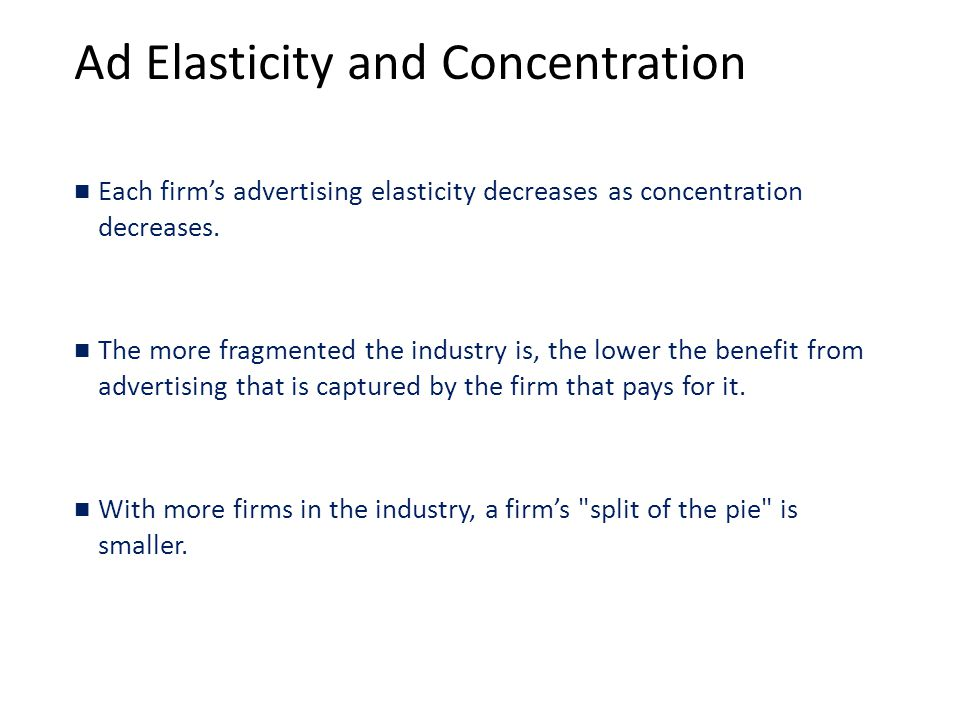 Ad Elasticity and Concentration Each firm's advertising elasticity decreases as concentration decreases.