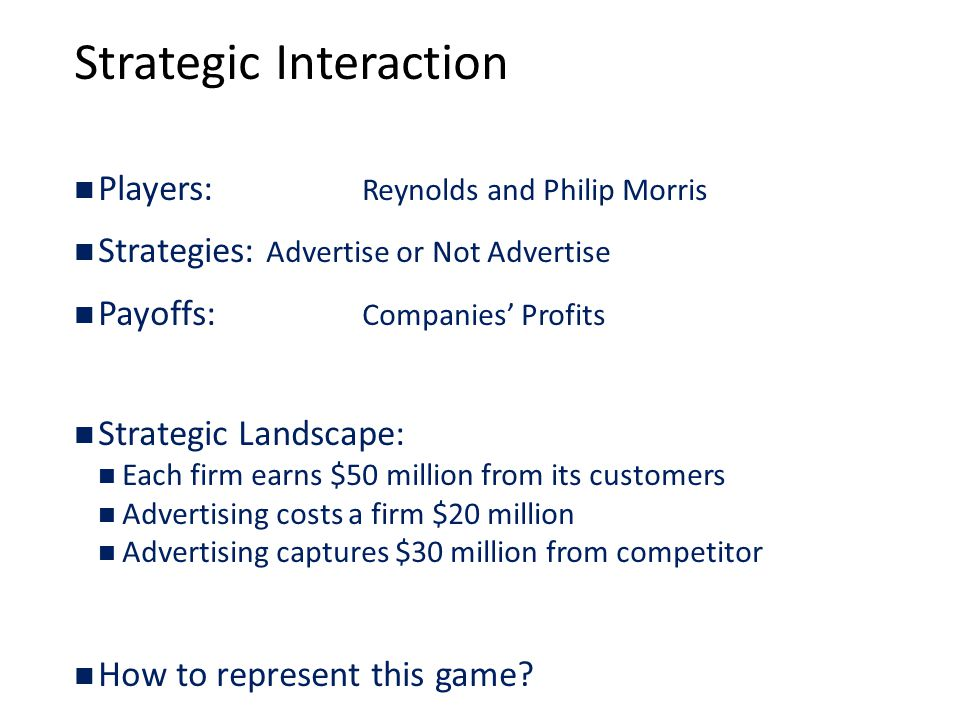 Strategic Interaction Players: Reynolds and Philip Morris Strategies: Advertise or Not Advertise Payoffs: Companies' Profits Strategic Landscape: Each firm earns $50 million from its customers Advertising costs a firm $20 million Advertising captures $30 million from competitor How to represent this game?