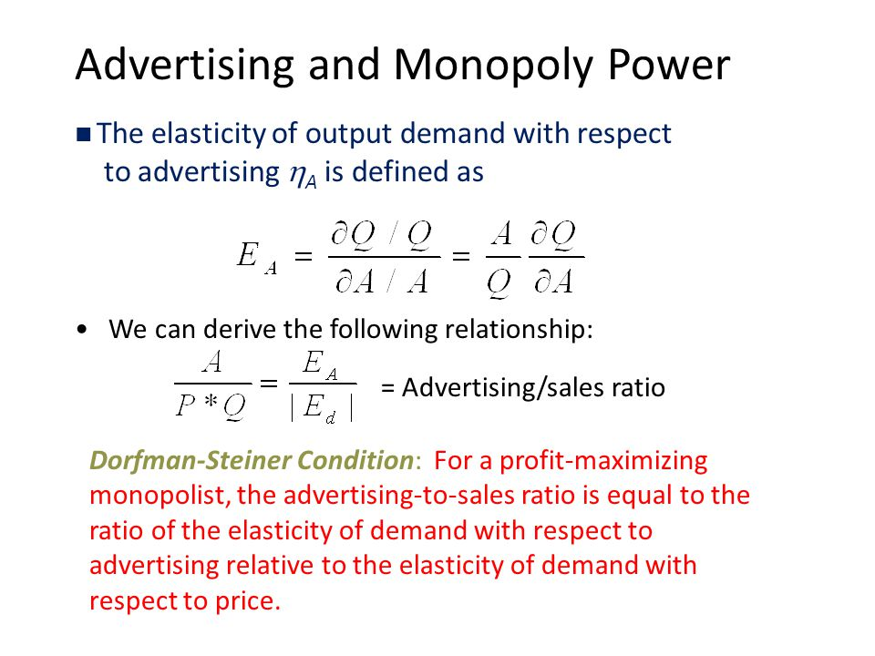 Advertising and Monopoly Power The elasticity of output demand with respect to advertising  A is defined as We can derive the following relationship: = Advertising/sales ratio Dorfman-Steiner Condition: For a profit-maximizing monopolist, the advertising-to-sales ratio is equal to the ratio of the elasticity of demand with respect to advertising relative to the elasticity of demand with respect to price.