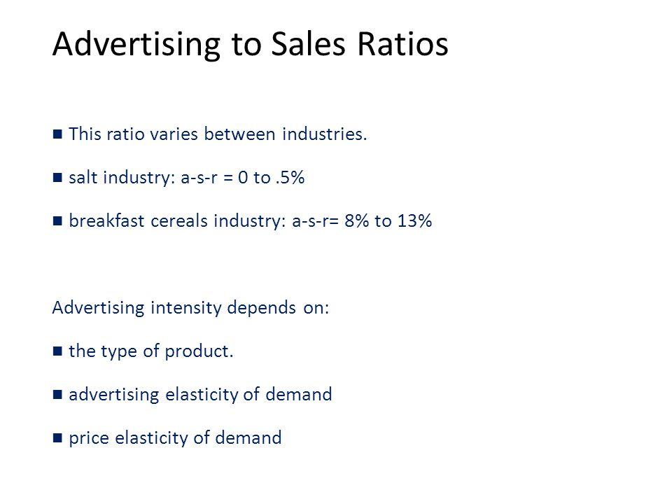 Advertising to Sales Ratios This ratio varies between industries.