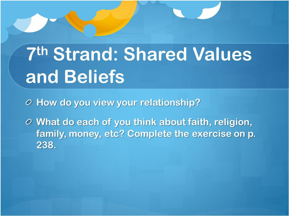 7 th Strand: Shared Values and Beliefs How do you view your relationship.
