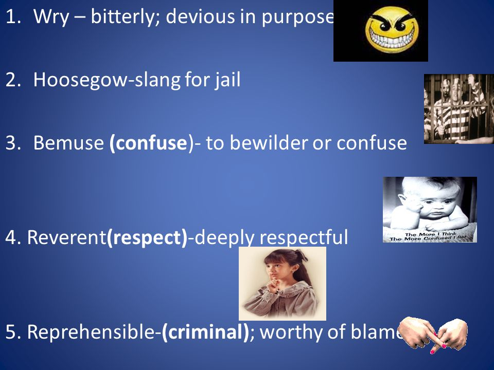 1.Wry – bitterly; devious in purpose 2.Hoosegow-slang for jail 3.Bemuse (confuse)- to bewilder or confuse 4.