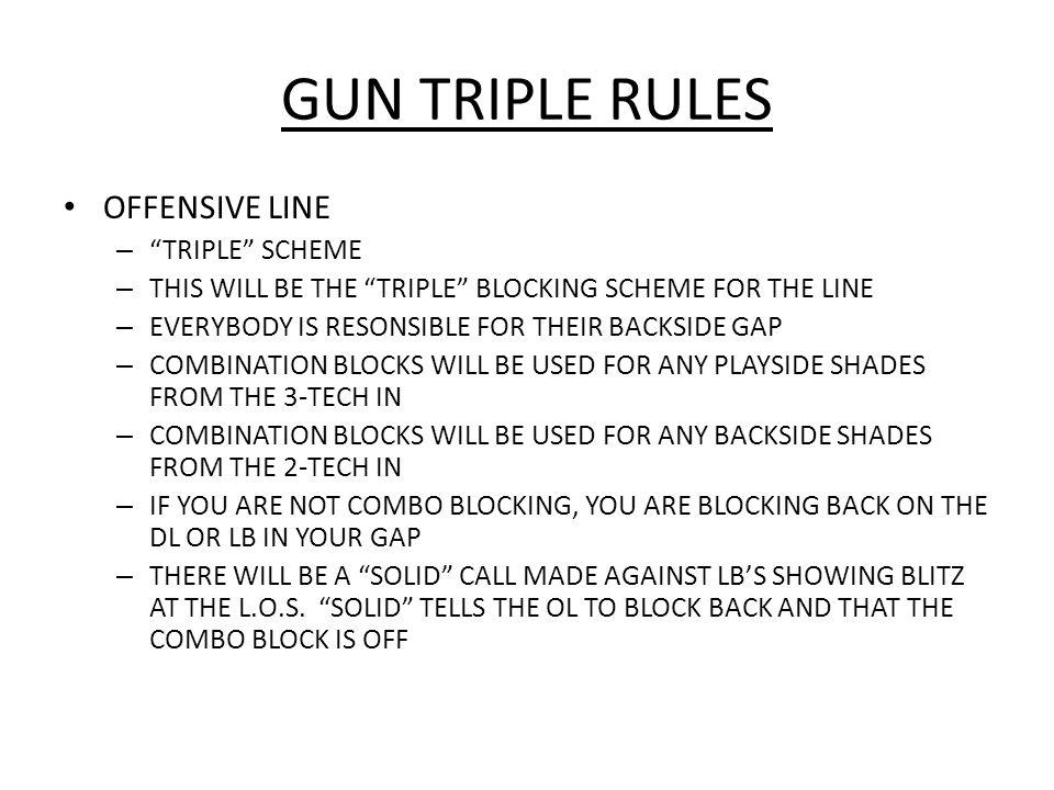 GUN TRIPLE RULES OFFENSIVE LINE – PT – TIGHT INSIDE VEER RELEASE CHIPPING EMOLOS – BLOCK 1 ST MAN INSIDE ( B GAP DEFENDER) – PG – POST THE A GAP, RIP THE B GAP – C – POST THE BACKSIDE A GAP, RIP THE PLAYSIDE A GAP – BG – BACKSIDE B GAP DEFENDER WITH OR WITHOUT COMBO – BT – BACKSIDE C GAP DEFENDER