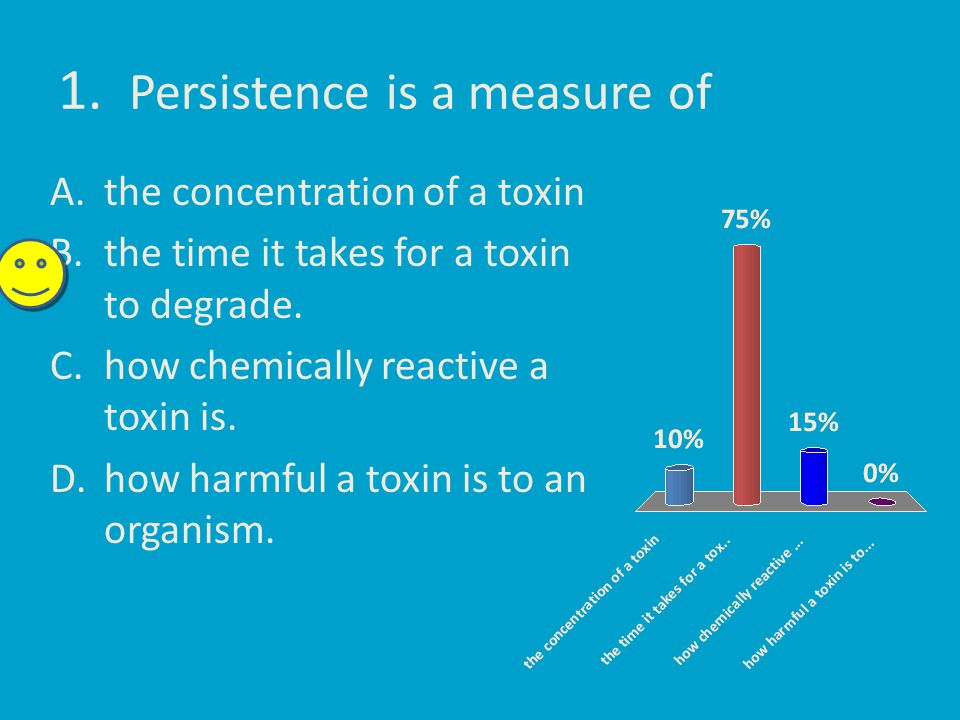 1. Persistence is a measure of A.the concentration of a toxin B.the time it takes for a toxin to degrade. C.how chemically reactive a toxin is. D.how