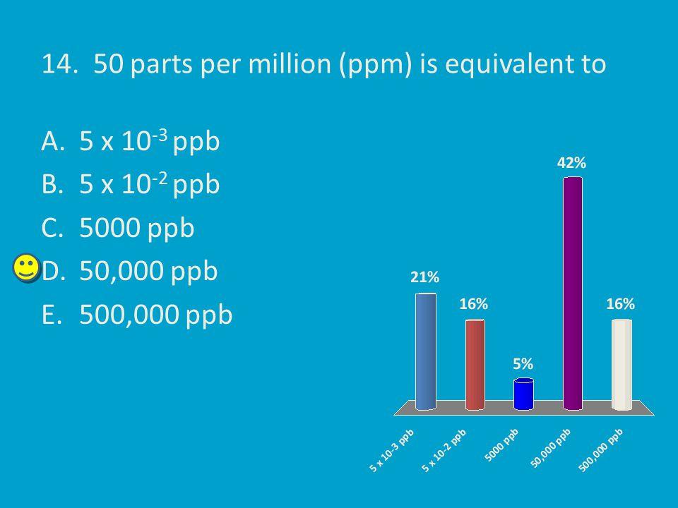 14. 50 parts per million (ppm) is equivalent to A.5 x 10 -3 ppb B.5 x 10 -2 ppb C.5000 ppb D.50,000 ppb E.500,000 ppb
