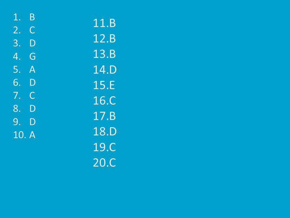 1.B 2.C 3.D 4.G 5.A 6.D 7.C 8.D 9.D 10.A 11.B 12.B 13.B 14.D 15.E 16.C 17.B 18.D 19.C 20.C