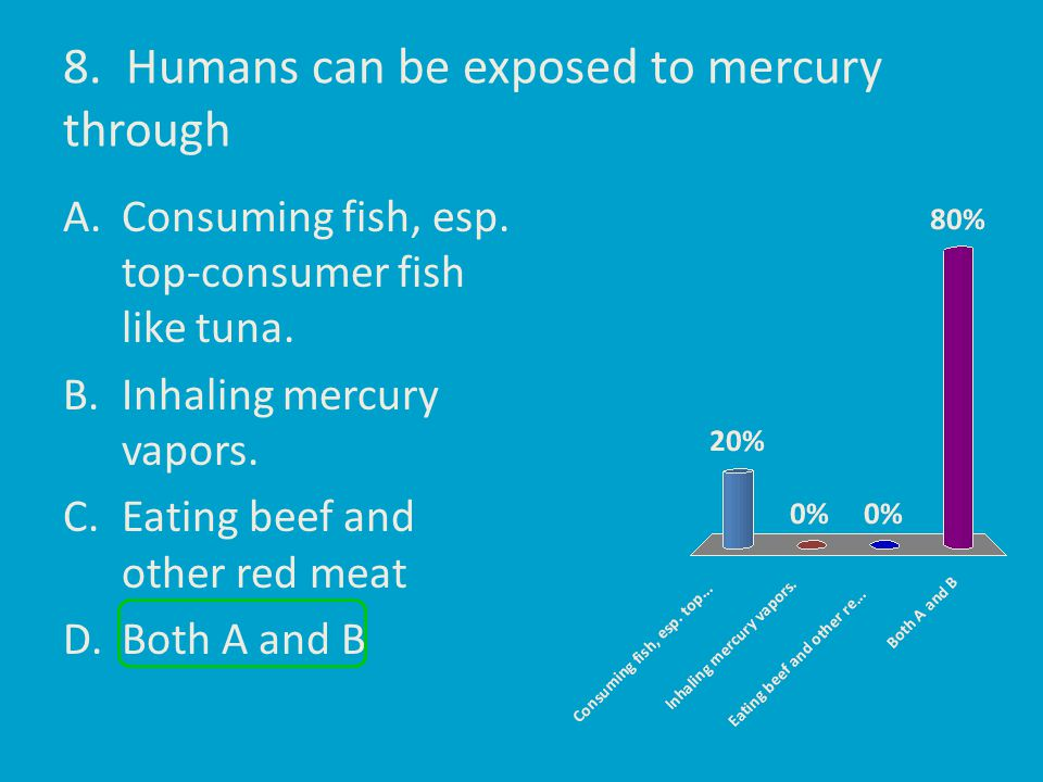 8. Humans can be exposed to mercury through A.Consuming fish, esp. top-consumer fish like tuna. B.Inhaling mercury vapors. C.Eating beef and other red